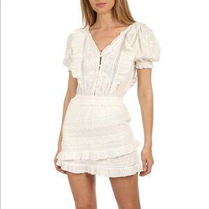 LoveShackFancy Sutton White Lace Dress Sz S